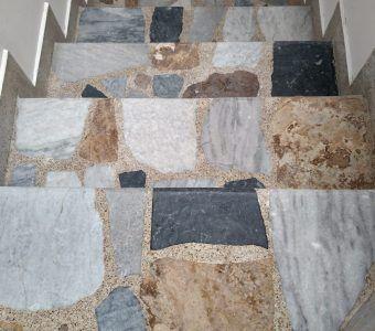 Pulido de piso de marmol antes